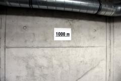 1000 m-Marke im Aussichtsturm des Schneekopf