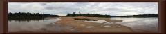stromabwärts (auf die Sandbank)