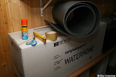 Die Materialien zur Isolierung des Aquariums