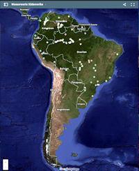 Mapa Valores del agua de América del Sur
