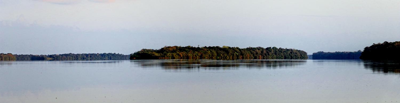 Mündung des Rio Branco (re.) in den Rio Negro (li.)