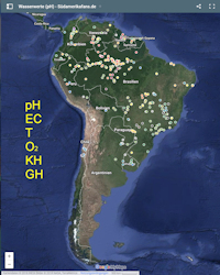 Map Water Values of South America
